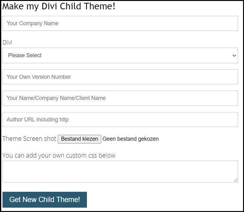 divi child theme maker